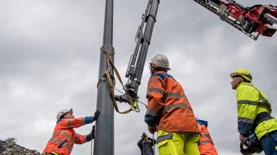 Start zu den Arbeiten für die Verlängerung der Trolleybuslinie 1 in Ebikon. (Bild:Nadia Schärli (Ebikon,1. Oktober 2018))