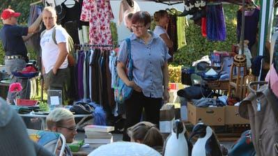 Grosses Angebot: Eine Frau sieht sich am Flohmarkt im Burstelpark um. 86 Standbetreiber bieten ihre Waren an. (Bild: Hugo Berger)