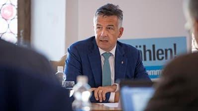Der Nidwaldner Freisinnige Hans Wicki will vom Ständerat in den Bundesrat wechseln. Der 54-Jährige hat seine Kandidatur anlässlich einer Medienkonferenz am Mittwoch im Rathaus Stans bekannt gegeben. (Bild: Corinne Glanzmann (Stans, 17. Oktober 2018))