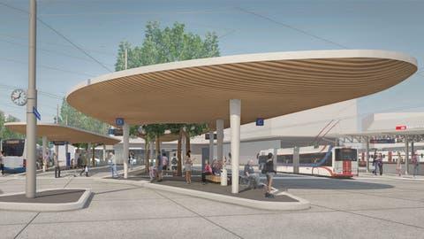 So soll der Bushub am Bahnhof Ebikon dereinst aussehen. (Visualisierung: PD)