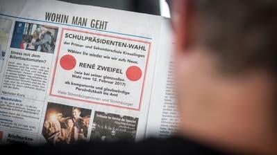 In einer Kreuzlinger Lokalzeitung wirbt ein Inserat für die Wiederwahl René Zweifels zum Schulpräsidenten. (Bild: Reto Martin)