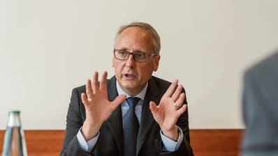 «Wir waren alle sofort zugedeckt mit Aufträgen»: Urs Rüegsegger über das Kick-off-Meeting des Börsengangs der St.Galler Kantonalbank. (Bild: Hanspeter Schiess (St.Gallen, 8. Oktober 2014))