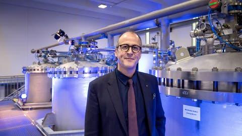 Stephan Marty, Vorsitzender der EWL-Geschäftsleitung, im neuen Quellwasserwerk Sonnenberg. Bild: Pius Amrein (Luzern, 19. Oktober 2018)