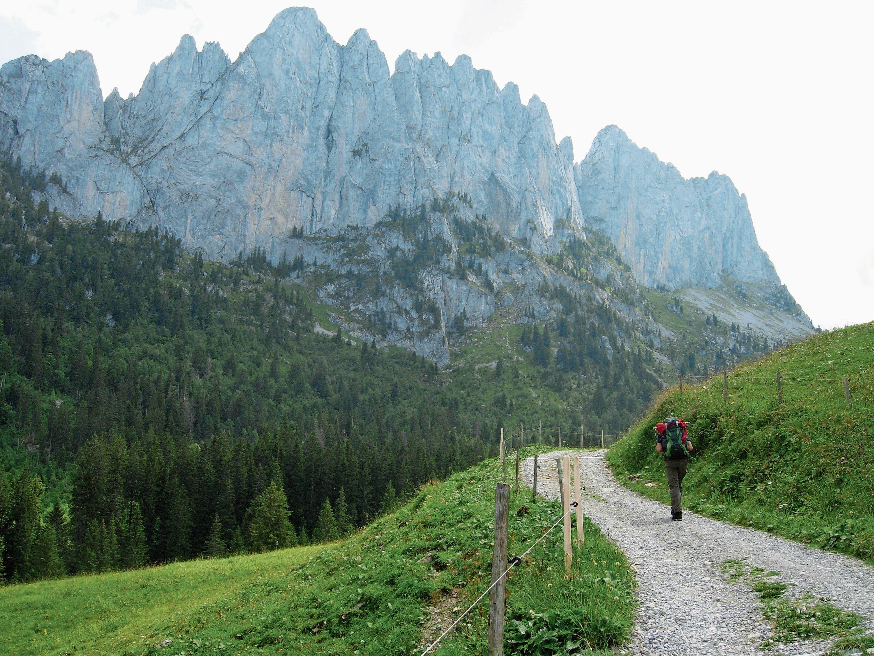 Der Aufstieg von Jaun her zum Chalet du Soldat (Soldatenhaus) auf 1752 m ü. M., entlang der schlanken Felszähne der Gastlosen-Bergkette. (Bild: Bilder: Monika Neidhart)