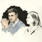 Thomas N. mit Pflichtverteidigerin Renate Senn. (Zeichnung: Sibylle Heusser / Keystone)