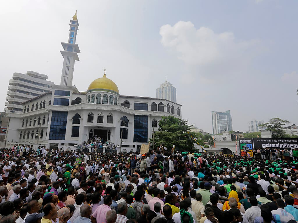 In Sri Lankas Hauptstadt Colombo haben am Dienstag zehntausende Menschen gegen die Entlassung von Regierungschef Ranil Wickremesinghe protestiert. (Bild: KEYSTONE/AP/ERANGA JAYAWARDENA)