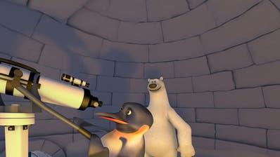 Um das Rätsel der Polarnächte am Süd- und Nordpol zu lösen, bauen Pinguin James und Eisbär Vladimir eine Sternwarte. (Bild: PD)