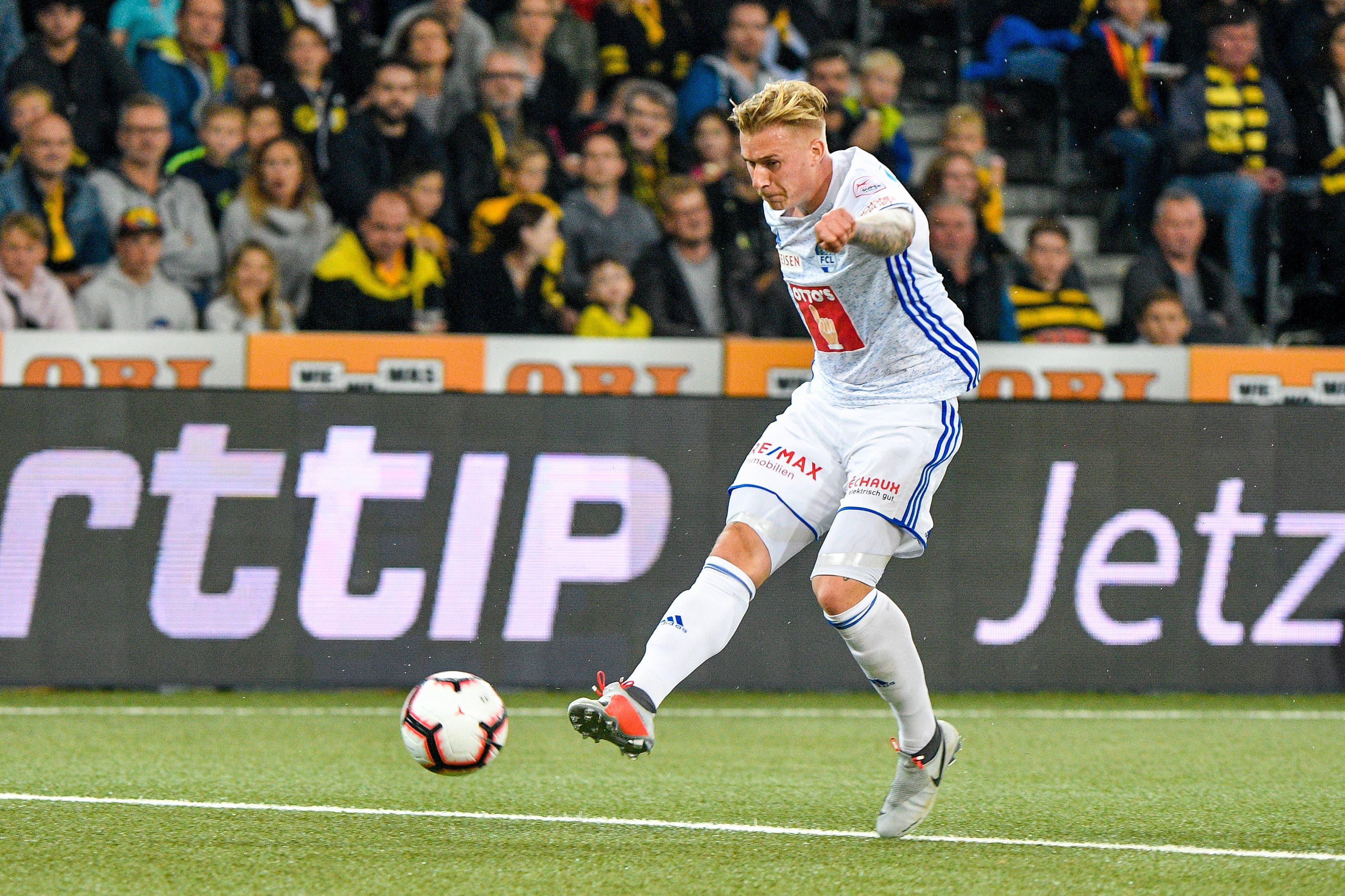 Marvin Schulz (Luzern) erzielt das Tor zum 2:2. (Bild: Martin Meienberger/freshfocus (Bern, 6. Oktober 2018))