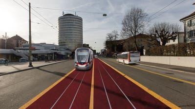 So hätte das St.Galler Tram aussehen können: Diese Pläne verfolgen Stadtrat und Kanton vorerst nicht weiter. (Visualisierung: PD)
