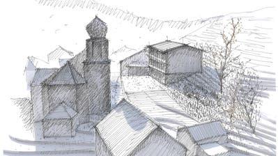 Parallel zur Kirche soll der Neubau des Schulhauses in Libingen leicht im Hang zu stehen kommen. In der Mitte liegt der Fussballplatz, der den Anwohnern sehr wichtig ist. Je weiter man mit dem Schulhaus in den Hang hinaufgehen würde, desto mehr Kosten entstünden. (Visualisierung: PD)