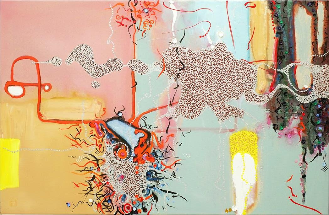 """Samuel Imbach, aus der Serie """"In Collaboration With Birds"""", 2018, Öl auf Leinwand, 72 x 110 cm. (Bild: Courtesy the artist)"""