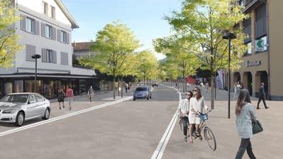 Die Poststrasse soll einheitlich wie die Bahnhofstrasse gestaltet werden. Visualisierung: PD