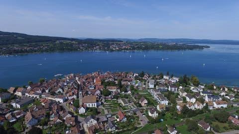 Steckborn von oben: Der Stadtrat will zwischen Sonnenkreisel und Schützengraben eine Temporeduktion einführen. (Bild: Olaf Kühne)