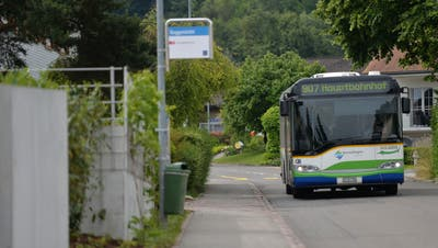 Der Kreuzlinger Stadtbus Nummer 907 fährt an der Haltestelle Guggenbühl in Tägerwilen vorbei. (Bild: Reto Martin)