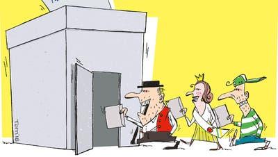 Freuen sich über die ausgezeichneten Wahlresultate: Stadtrat Thomas Beringer, Stadtrat Markus Brüllmann (neu), Stadtpräsident Thomas Niederberger, Vize-Stadtpräsidentin Dorena Raggenbass und Stadtrat Ernst Zülle. (Bild: zVg)