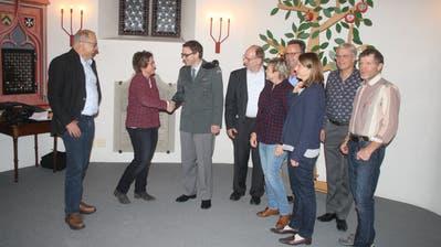 Von links: Peter Krattiger, Präsidentin Stefanie Stuckert, Pfarrer Jann Flütsch, Dirk Schlatterbeck, Edith Fankhauser, Erwin Greminger, Ruth Burkhart, Pfarrer Andreas Palm, Robert Engeli. (Bild: Desirée Müller)