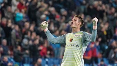 Basel-Keeper Jonas Omlin: Jubelt er auch am Sonntag gegen sein Ex-Club Luzern? (Bild: Andy Müller/Freshfocus (Basel, 4. November 2018))