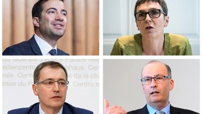 Sie sehen keinen schnellen Weg zu einem Rahmenabkommen mit der EU: Andrea Caroni (FDP/AR), Barbara Gysi (SP/SG), Roland Rino Büchel (SVP/SG) und Markus Ritter (CVP/SG). (Bilder: Keystone)