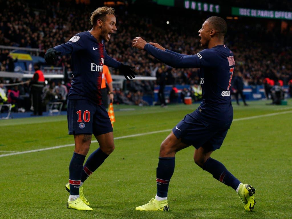 Neymar (links) und Kylian Mbappé stehen PSG im wichtigen Heimspiel gegen Liverpool wieder zur Verfügung (Bild: KEYSTONE/AP/THIBAULT CAMUS)