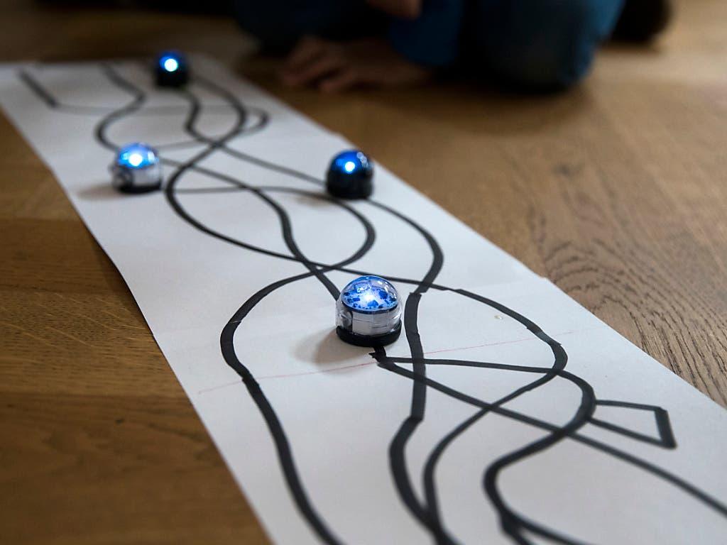 Der Nationalrat will für Bildung, Forschung und Innovation nächstes Jahr mehr Geld zur Verfügung stellen als der Bundesrat. Im Bild Roboterrennen für Schüler an einem Anlass für Talentsuche in Bern. (Bild: KEYSTONE/PETER KLAUNZER)