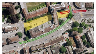 Das gelb markierte Gebiet soll dank der Y-Lösung (grüne Pfeile) beruhigt werden.(Visualisierung: Stadt Luzern)