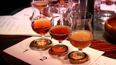Drei Biersorten stehen zur Degustation bereit. (Bild: pd)