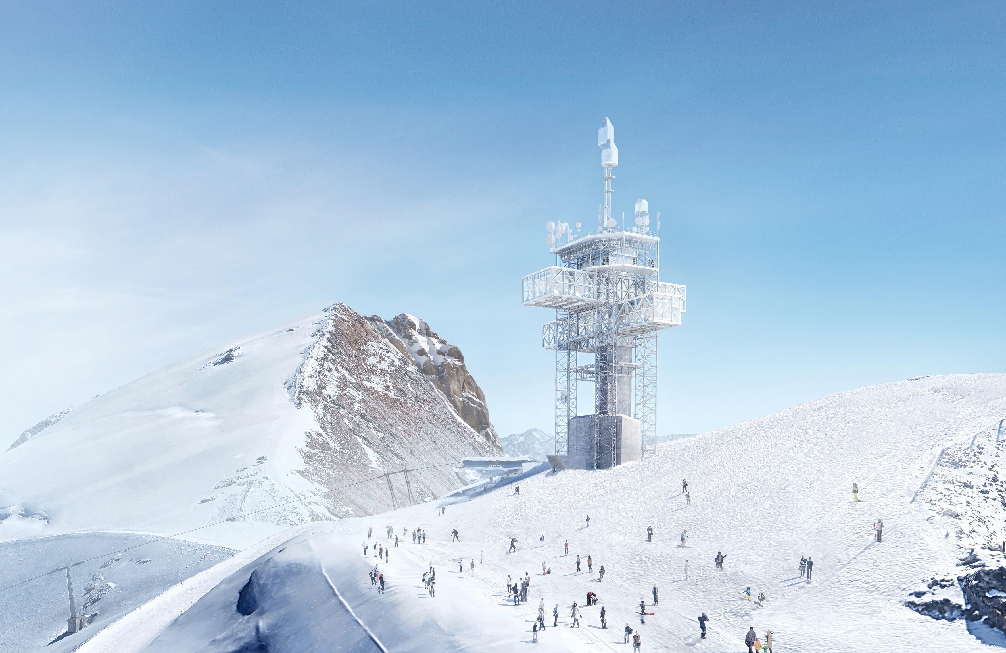 Auf dem Gipfel des Titlis in Engelberg wird bald nicht nur eine neue Bergstation thronen, auch der Richtstrahlturm wird öffentlich zugänglich gemacht. (Visualisierung: PD)