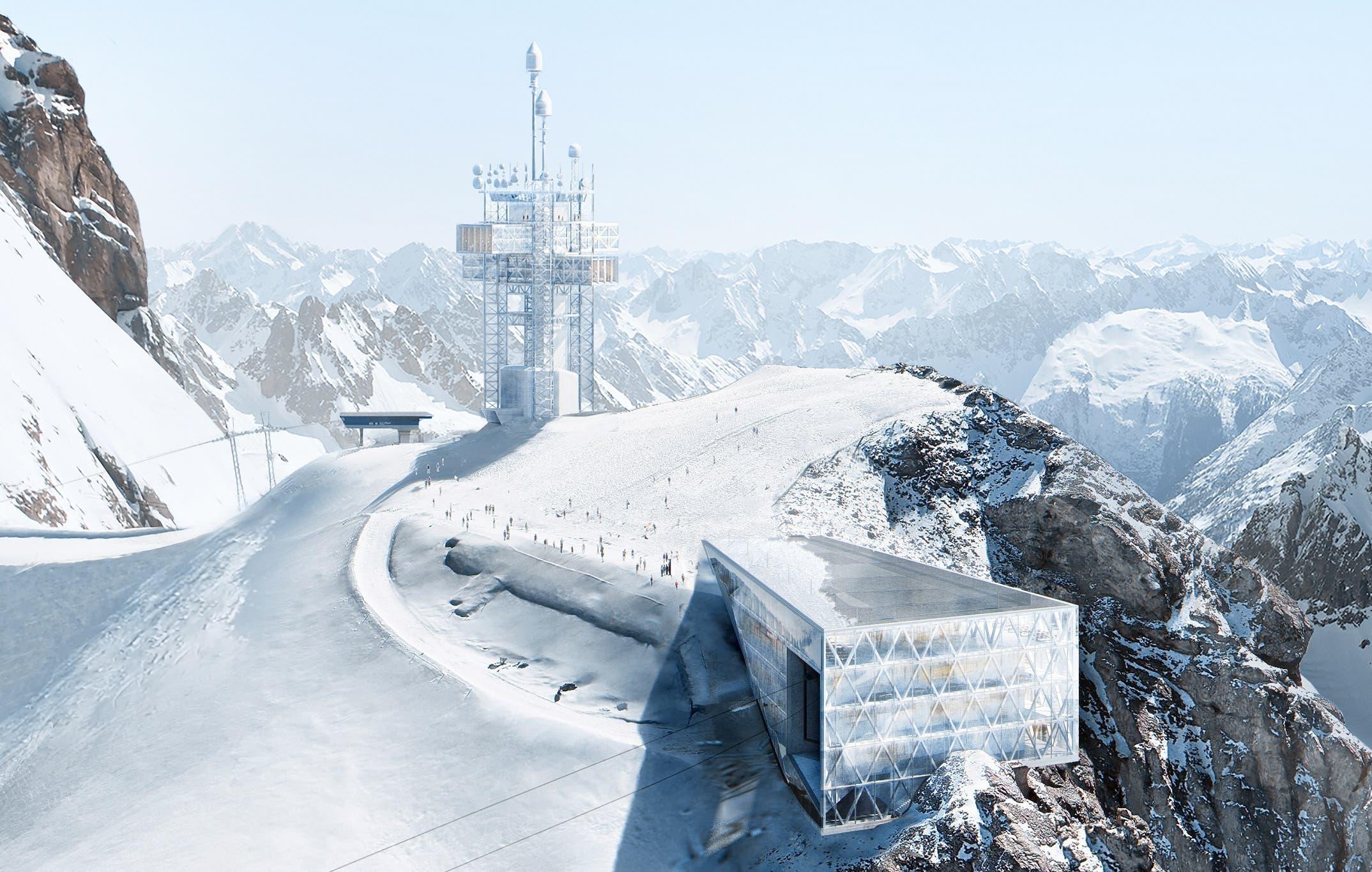 Die verantwortlichen Architekten von Herzog & de Meuron haben auf dem Berggipfel das 100-Millionen-Projekt präsentiert. (Visualisierung: PD)