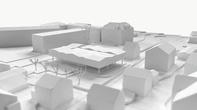 Der geplante Kindergartenneubau in der Mitte, dahinter die übrigen Schulanlagen. (Bilder: Visualisierung: Durrer Architekten Luzern)