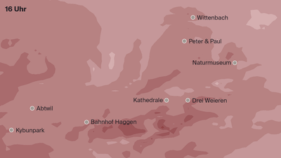 Temperatur-Zonen in St.Gallen und Umgebung um 16 Uhr. (Grafiken:Stefan Bogner)