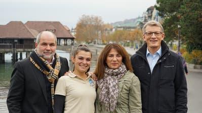 Die Macher der Eisarena: Alexander Kleger, Angela Belbute, Tanja Alismeno und Markus Wanner (von links) vom Verein Netzwerk Rorschach. (Bild: Sandro Büchler)