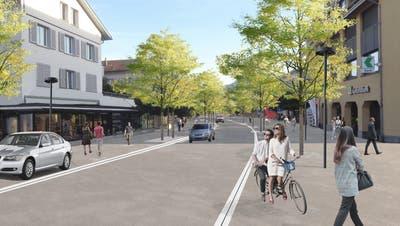 Die Parkplätze sind auf der Höhe des Trottoirs angeordnet. Hier die Wattwiler Bahnhofstrasse mit Blick nach Süden. (Bild: PD)