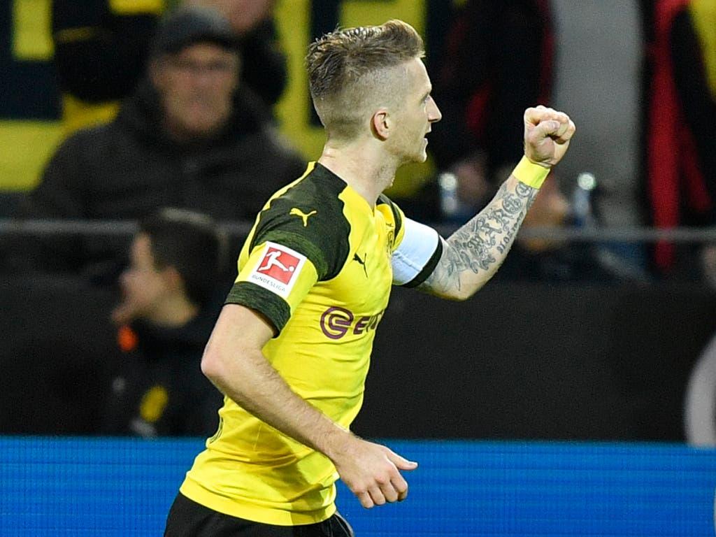 Marco Reus brachte mit einem verwandelten Foulpenalty Borussia Dortmund auf die Siegesstrasse (Bild: KEYSTONE/AP/MARTIN MEISSNER)
