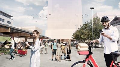 SBB und Gemeinde wollen den Dorfmattplatz mit der Bahnhofsentwicklung aufwerten und ihn als Ort der Begegnung stärken. (Visualisierung: PD)