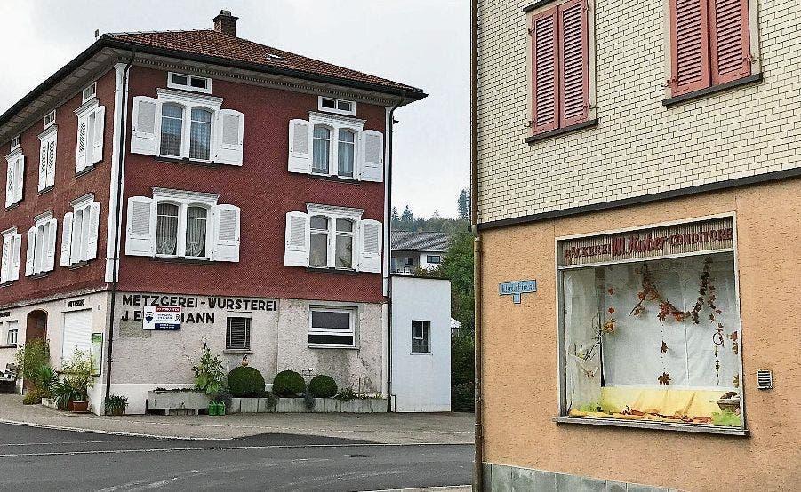 Endzeit: Die Bäckerei Huber im Vordergrund schliesst Ende Jahr, die Liegenschaft «Metzgerei Eigenmann» steht zum Verkauf.