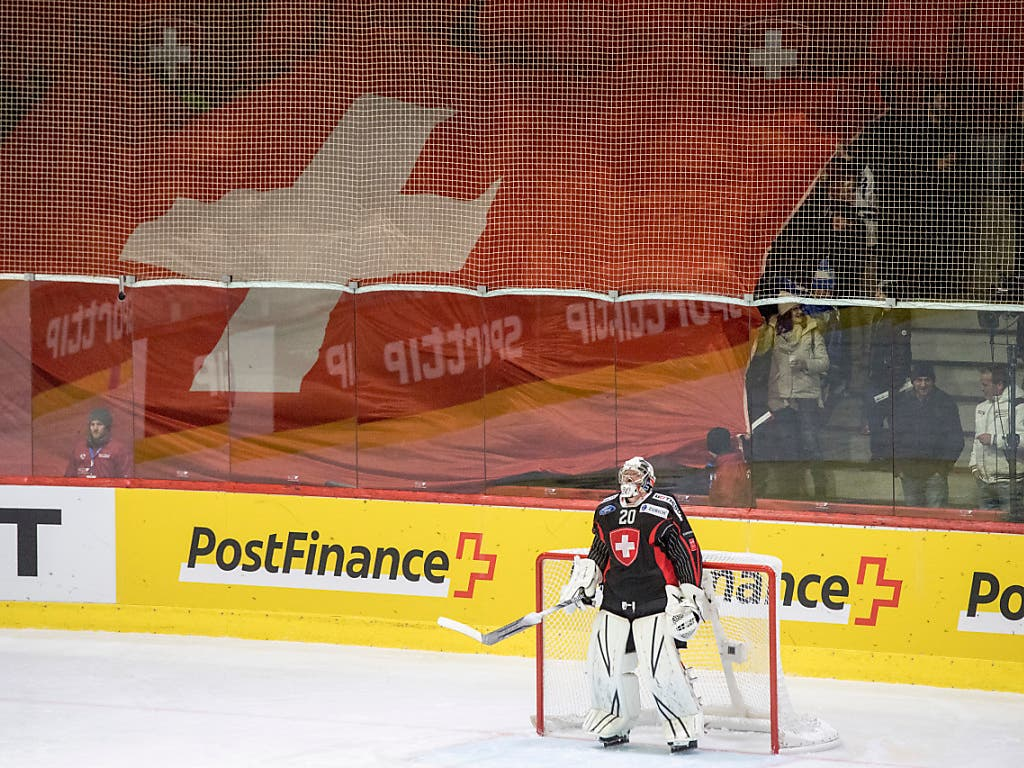 Der Schweizer Hüter Berra verpasste den Shutout nur um knapp zwei Minuten (Bild: KEYSTONE/URS FLUEELER)