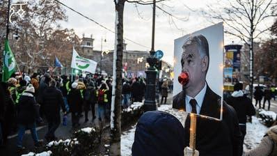 Plakate gegen Victor Orban: Der Premierminister zieht den Zorn der Bürger auf sich. Bild: Omar Marques/Getty (Budapest, 16. Dezember 2018)
