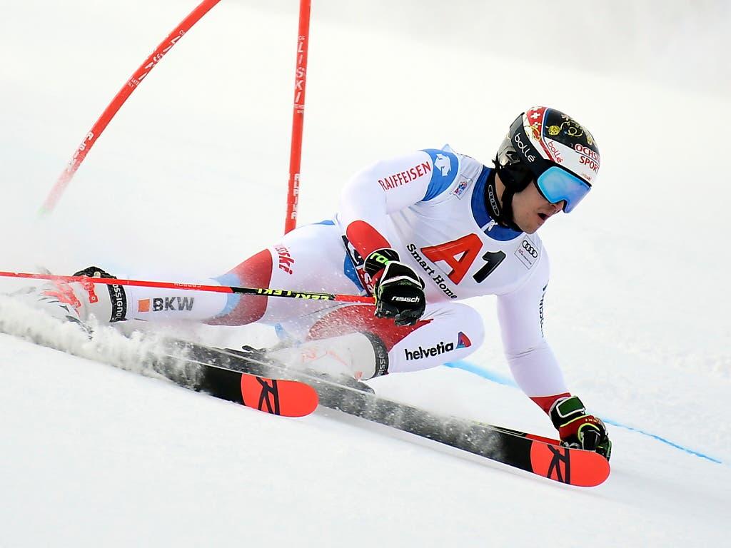 Loïc Meillard sicherte sich seinen ersten Weltcup-Podestplatz (Bild: KEYSTONE/EPA/CHRISTIAN BRUNA)