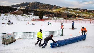 Beim Kinderskilift Bischofsberg oberhalb Heiden wird mit einem Flies der Schnee abgedeckt (Bilder: Urs Bucher)