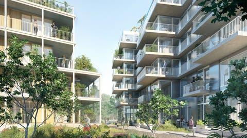 Ausladende Balkone und viel Grün: So könnte es auf dem MParc-Areal dereinst aussehen. (Visualisierung: Migros Luzern)