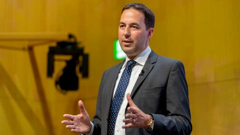 Christian Mumenthaler Gruppen-CEO der Swiss Re während der Bilanzmedienkonferenz der Swiss Reinsurance Company Ltd (Swiss Re) in Zürich. (Bild: Nick Soland/PPR, 3. August 2018)