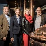 Vertreterinnen und Vertreter der SVP Thurgau im Frauenfelder Brauhaus Sternen: Stefan Mühlemann, Verena Herzog, Diana Gutjahr und Ruedi Zbinden. (Bild: Reto Martin)