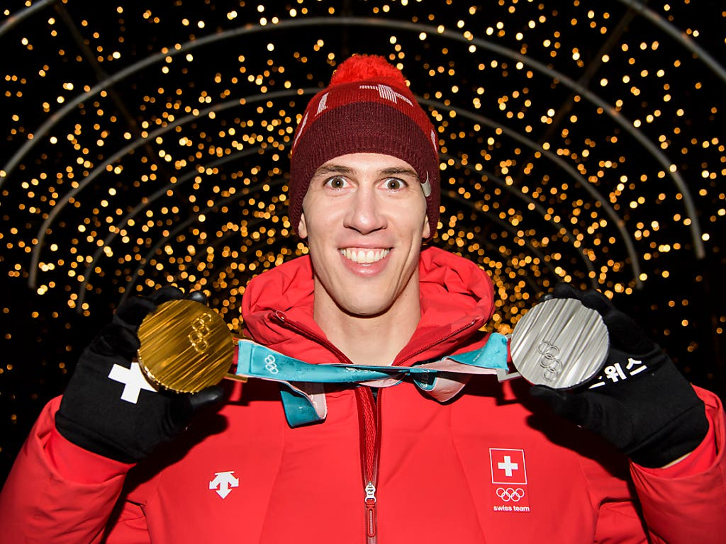 Ramon Zenhäusern brillierte mit Silber im Slalom und Gold im Teamwettkampf (Bild: KEYSTONE/JEAN-CHRISTOPHE BOTT)