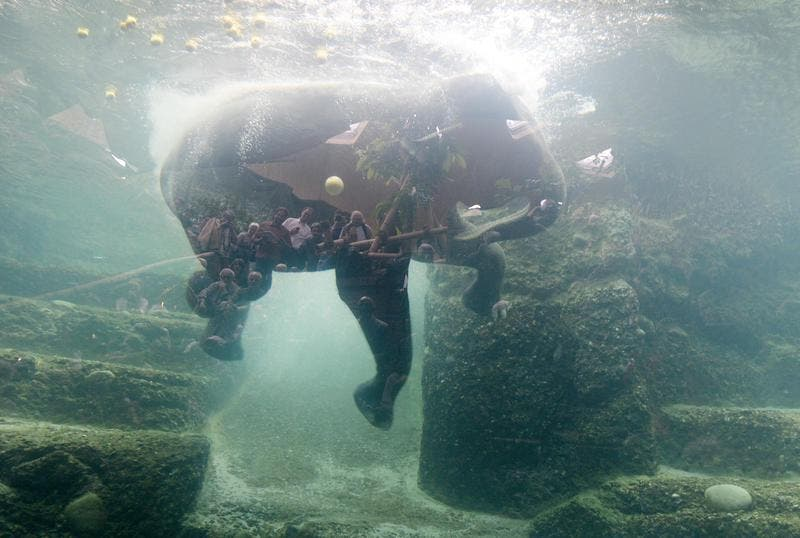 Der Unterwasser-Einblick ist das Highlight der neuen Elefantenanlage Kaeng Krachan. Benannt ist sie nach dem gleichnamigen Nationalpark in Thailand, wo der Zoo Zürich ein Schutzprojekt für Asiatische Elefanten unterstützt. (Bild: Keystone)