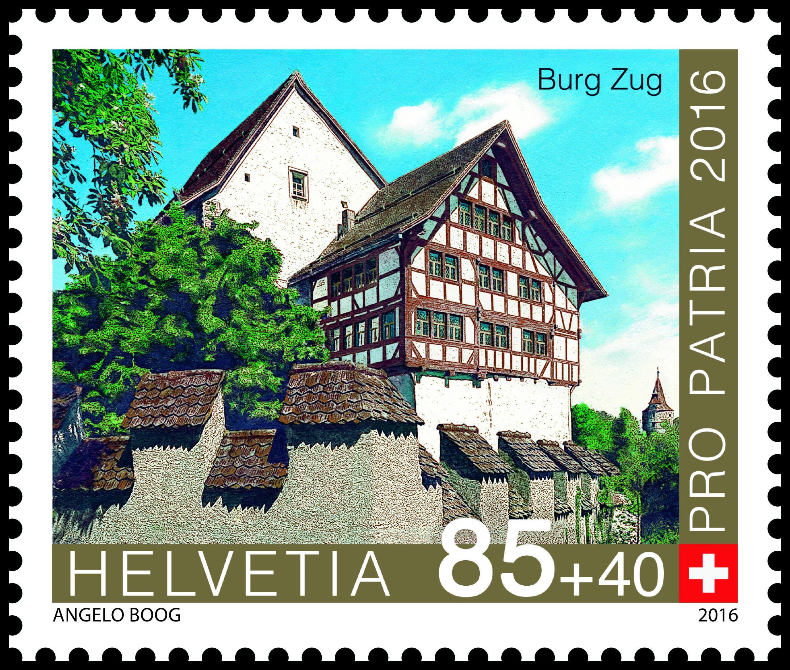 «Burg Zug» à CHF 0.85 + 0.40 (Bild: Die Post)