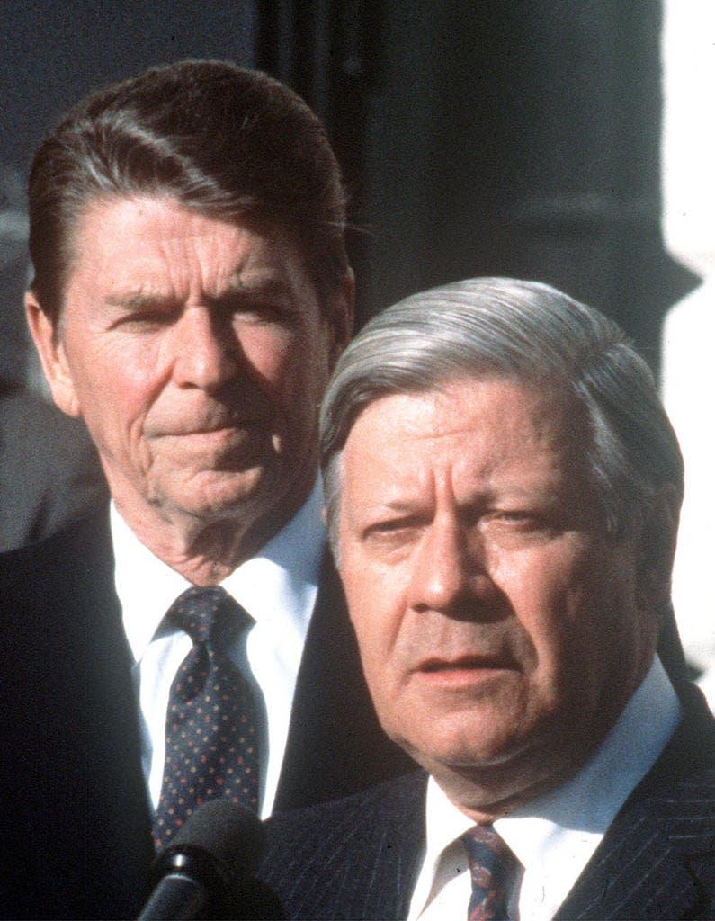 US-Präsident Ronald Reagan (links) stattete am 5. Juni 1982 Bonn einen Staatsbesuch ab. (Bild: Keystone)