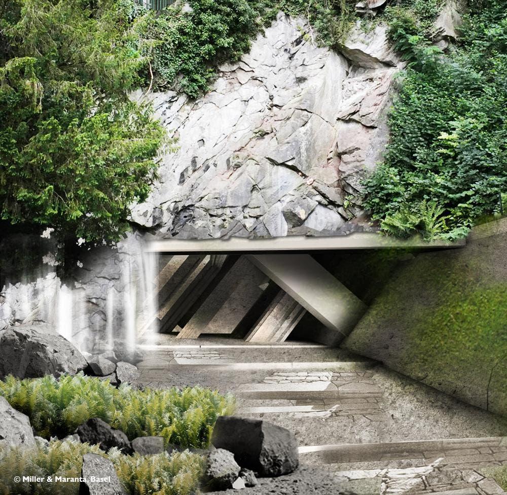 So könnte der Eingang zum Felsenweg dereinst aussehen. (Bild: Visualisierung Miller + Maranta, Basel)