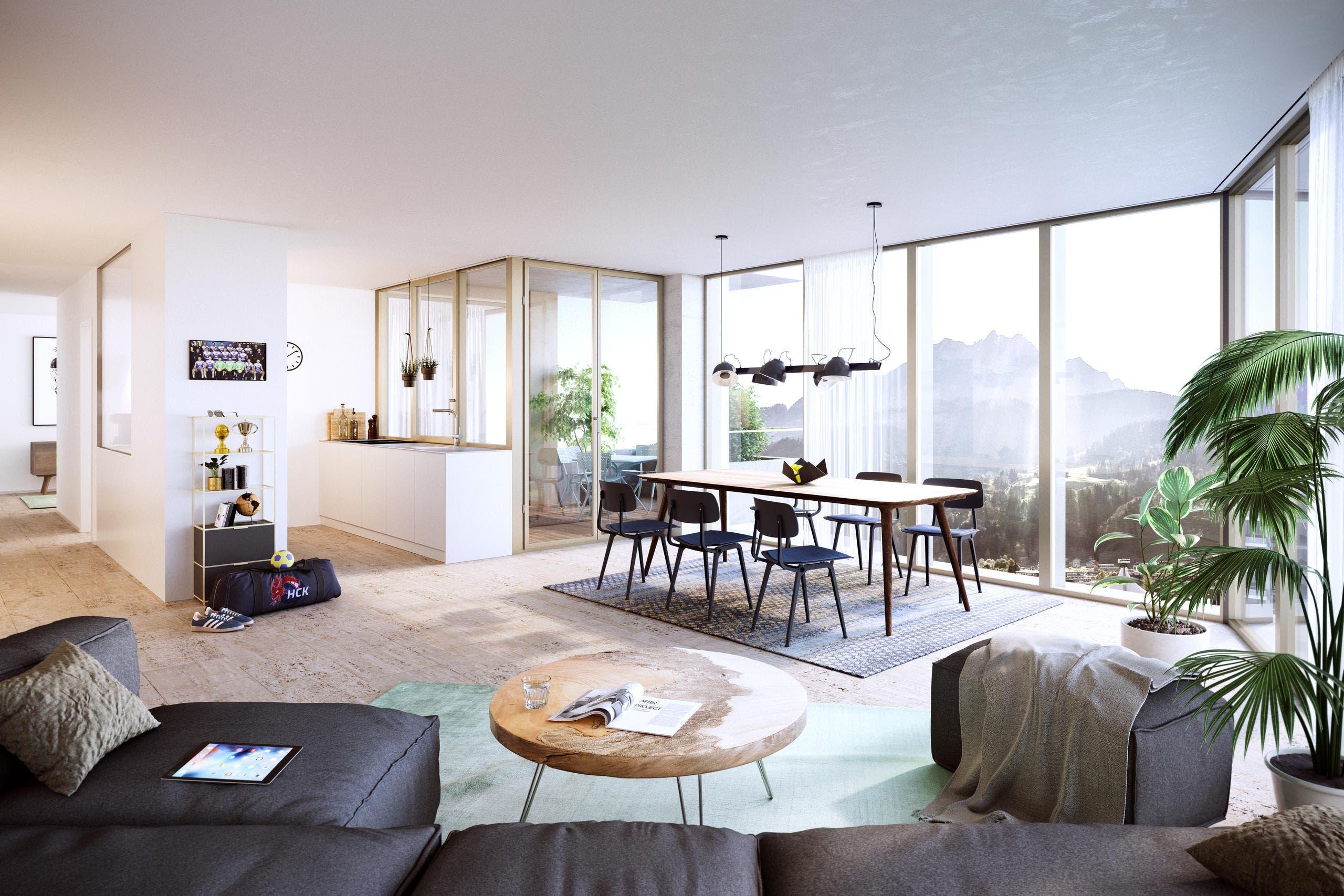 Die Wohnungen werden Blick auf den Pilatus und die Allmend Luzern haben. (Bild: Visualisierung Raumgleiter AG, Zürich)