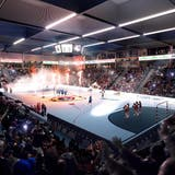 Blick in die multifunktionale Sport- und EventhallePilatus-Arena in Kriens mit 4'000 Plätzen. (Bild: Visualisierung Raumgleiter AG, Zürich)