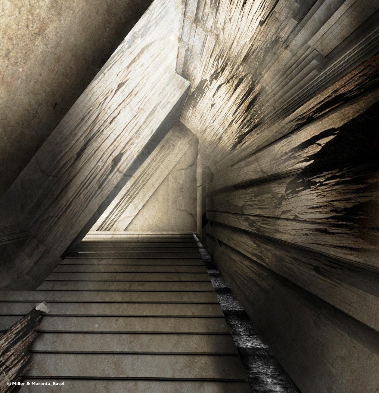 Ein Weg im Berg bringt den Besuchern den Sandstein näher. (Bild: Visualisierung Miller + Maranta, Basel)